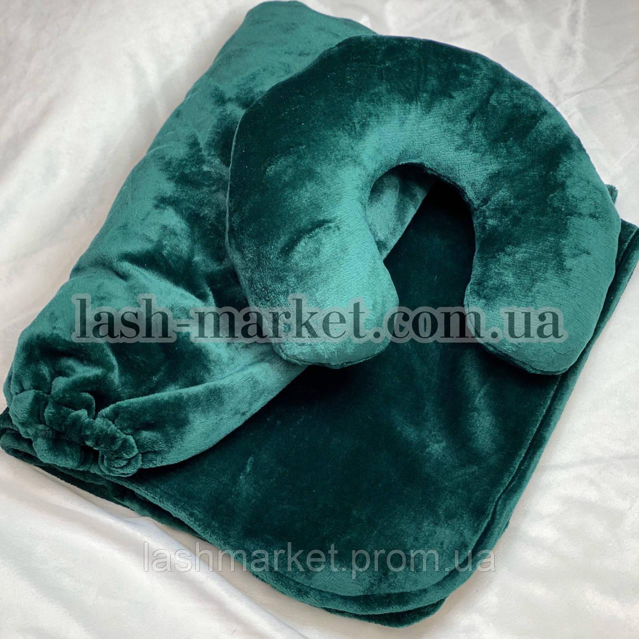 Набор 3в1: чехол на кушетку, плед, подушка ИЗУМРУД