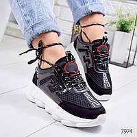 Кроссовки женские в стиле Gucci черные 7974, фото 1