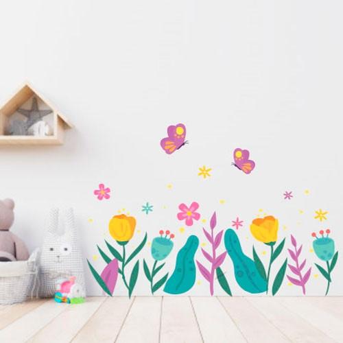 Вінілова інтер'єрна наклейка Весняні квіти (наклейки на шпалери стіни кольорові тюльпани на вітрину 8 березня)