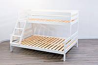 Трехместная двухъярусная кровать Микс белая