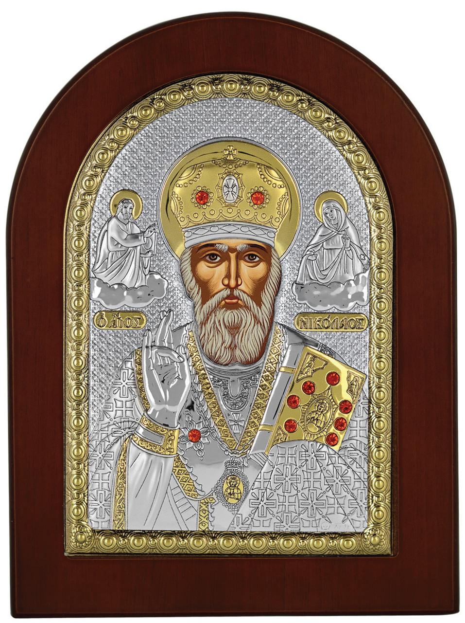 Святой Николай 15х19см греческая серебряная икона