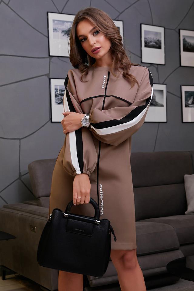 Женское стильное платье с лампасами