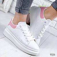 Кроссовки женские McQn белые + пудра 9326, фото 1