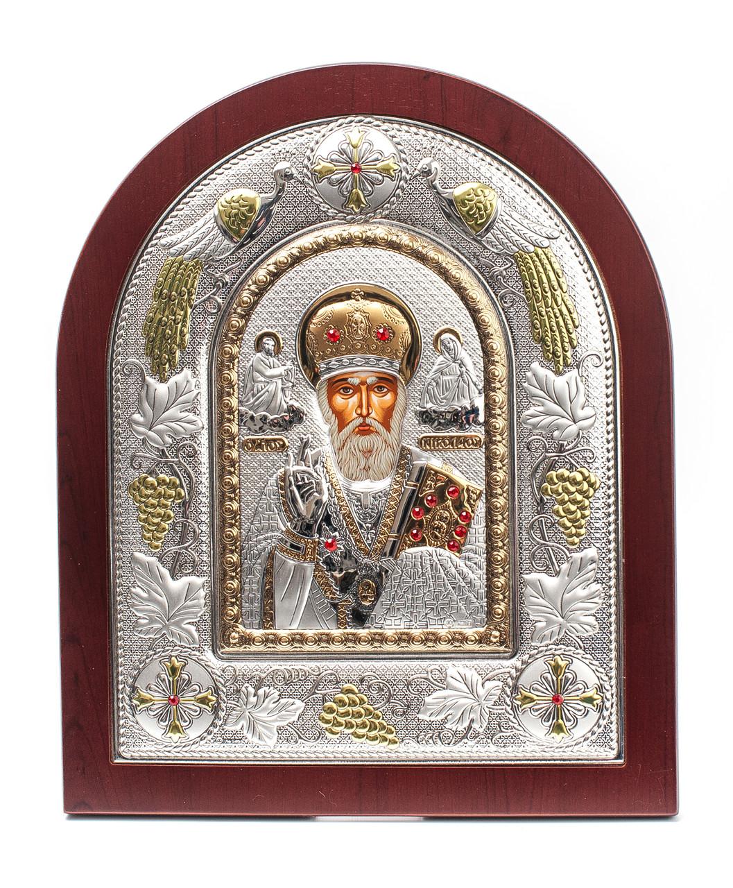 Святой Николай Чудотворец 20х25см греческая икона в серебряной рамке с павлинами