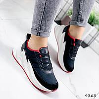 Кроссовки женские Spark черные+красный 9363, фото 1
