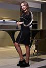Чёрное молодёжное платье с лампасами, фото 4