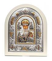 Святой Николай Чудотворец 20х25см в белом дереве.Греческая икона в серебряной рамке с павлинами