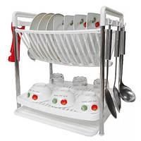 🔝 Настольная двухъярусная подставка сушилка для посуды Multifunktional Dish Rack сушка с поддоном | 🎁%🚚