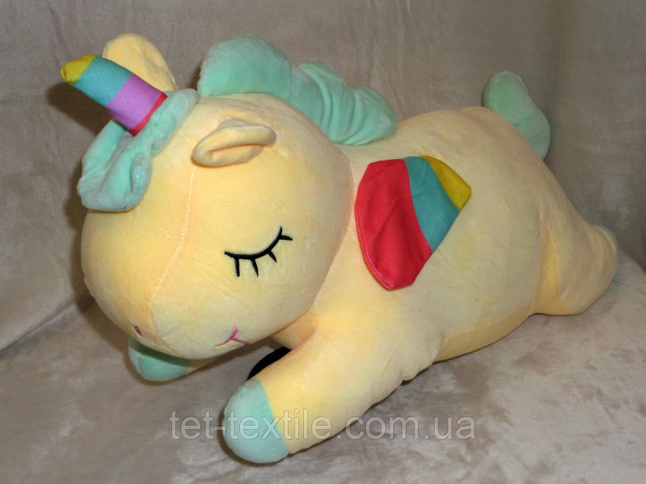 """Плед - мягкая игрушка """"Единорог"""" желтый"""