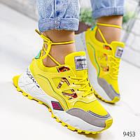 Кроссовки женские Cherilh желтый + голографик 9453, фото 1