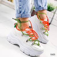 Кроссовки женские Fenn белый + зеленый 9491, фото 1