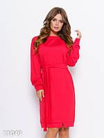 Красное трикотажное прямое платье с поясом