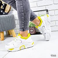 Кроссовки женские May белые + желтый 9566, фото 1