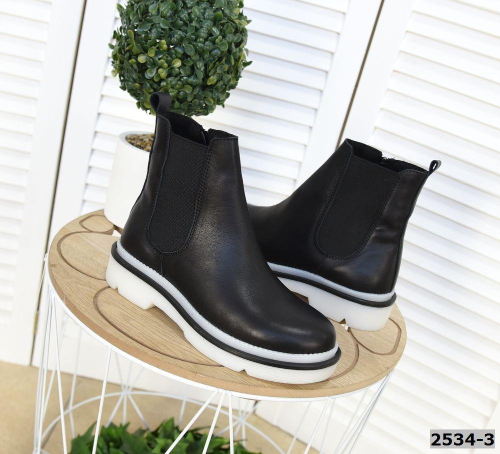 Кожаные ботинки на низком ходу 36-40 р чёрный