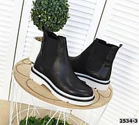 Кожаные ботинки на низком ходу 36-40 р чёрный, фото 1