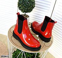Кожаные лаковые ботинки на низком ходу 36-41 р красный, фото 1