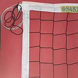 Сітка волейбольна безузловая «ЄВРО НОРМА» з тросом чорно-біла, фото 2