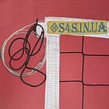 Сітка волейбольна безузловая «ЄВРО НОРМА» з тросом чорно-біла, фото 7