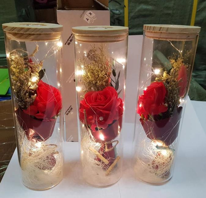 РОЗА В КОЛБІ з LED підсвіткою 25 см - Найкращий подарунок!