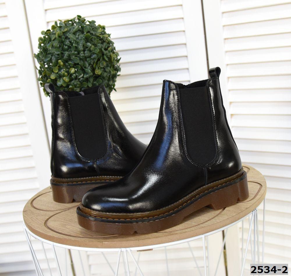 Кожаные лаковые ботинки на низком ходу 36-41 р чёрный