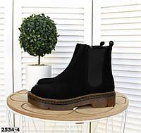 Замшевые ботинки на низком ходу 36-41 р чёрный, фото 1