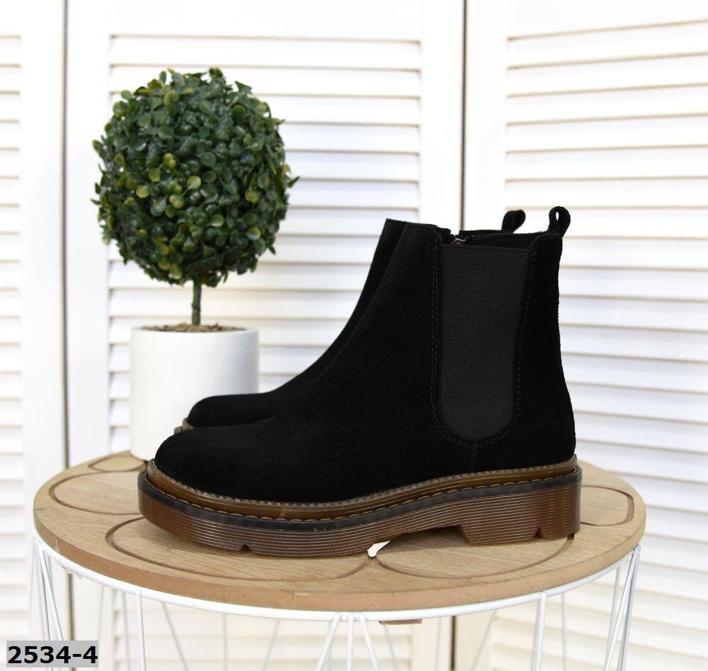 Замшевые ботинки на низком ходу 36-41 р чёрный