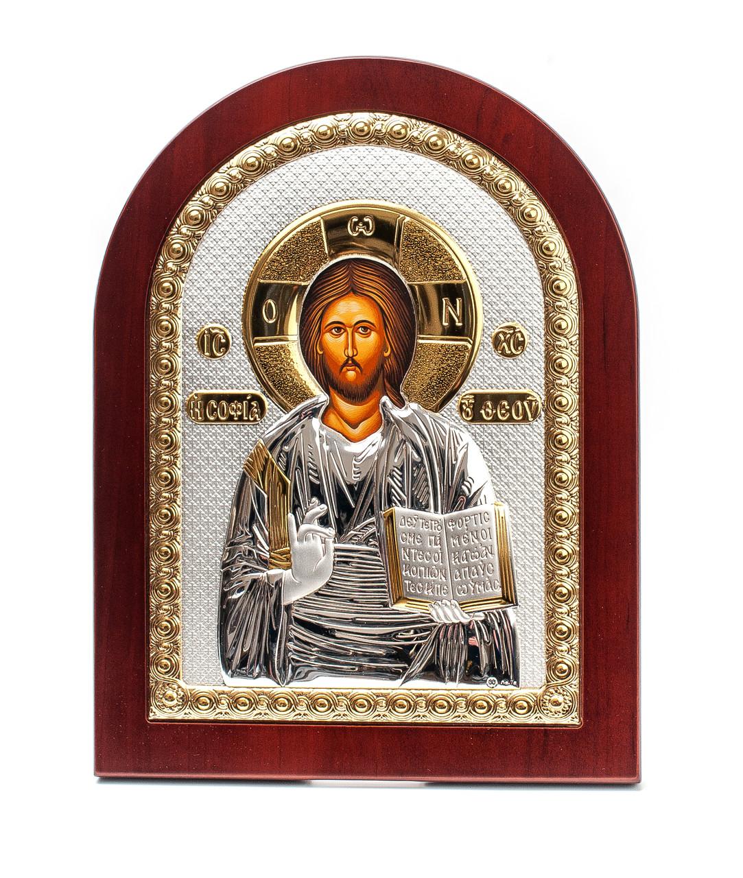 Иисус Христос Спаситель 20х25см греческая серебряная икона