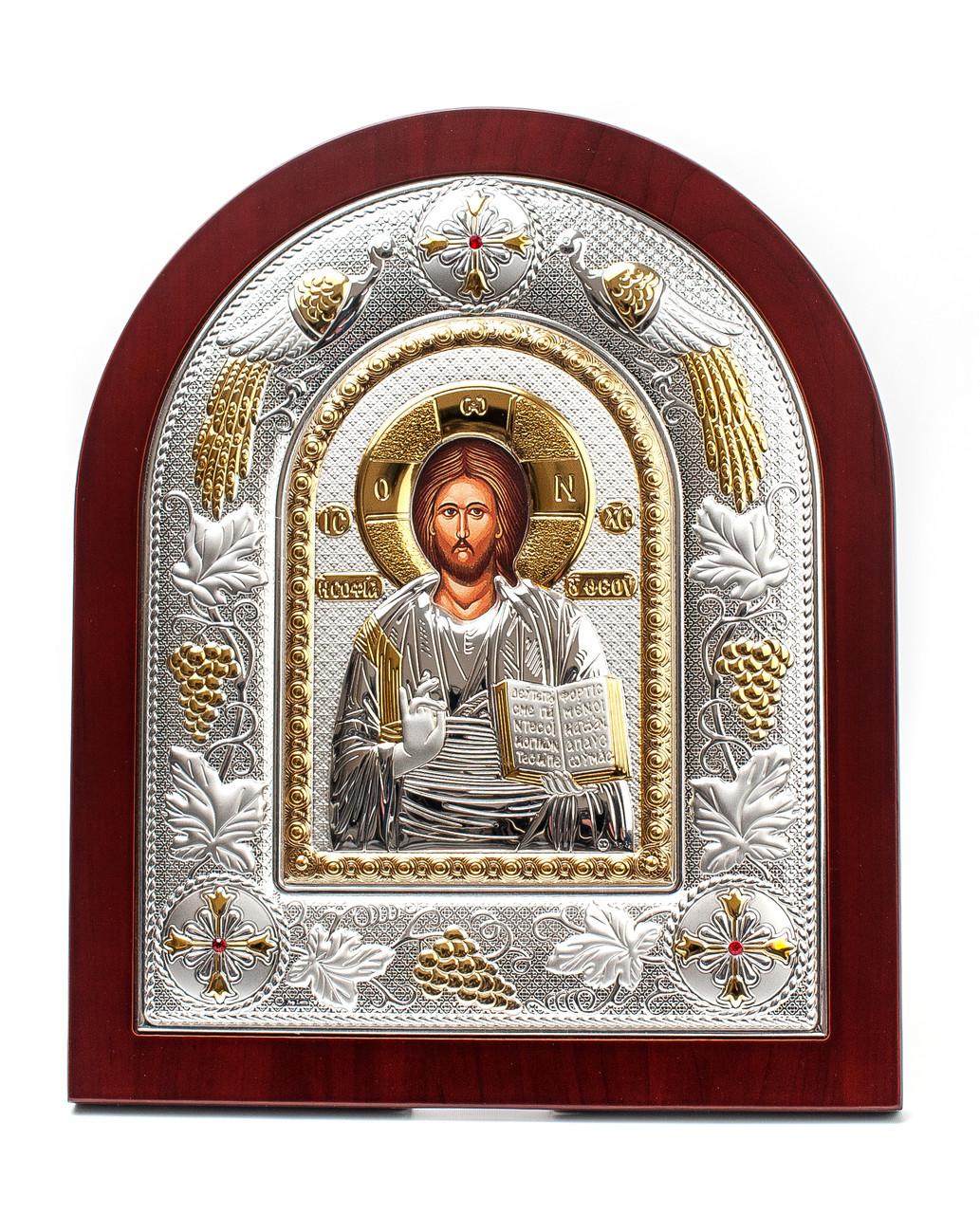 Спаситель Иисус 20х25см Греческая серебряная икона арочной формы