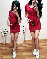 Стильный летний костюм, турецкий трикотаж S/M/L/XL (красный), фото 1