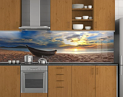 Пластиковый кухонный фартук ПВХ Деревянная лодка на закате, стеновые панели пластик скинали, Море, бежевый