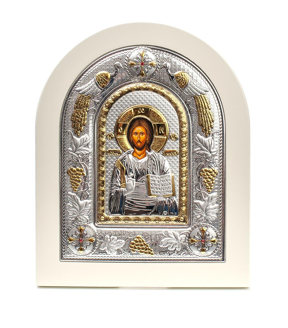 Спаситель Иисус 20х25см Греческая серебряная икона в белом дереве
