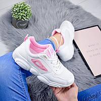 Кроссовки женские villy белый + розовый 7404, фото 1