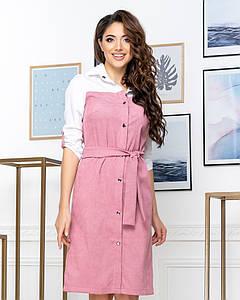 """Комбинированное платье-рубашка на кнопках """"Ivana"""" с поясом (4 цвета)"""