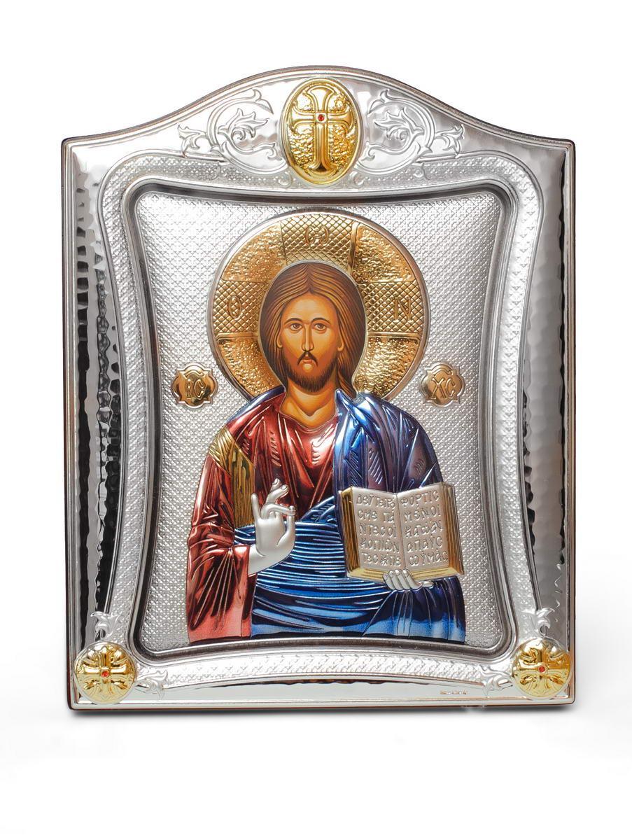 Спаситель Иисус 20х25см Эксклюзивная Греческая серебряная икона в белом дереве