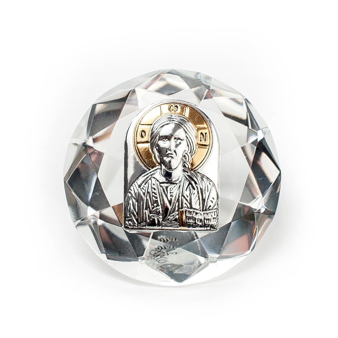 Серебряная Икона в хрустале Исус Христос Спаситель 6,7х6,7см в форме кристала