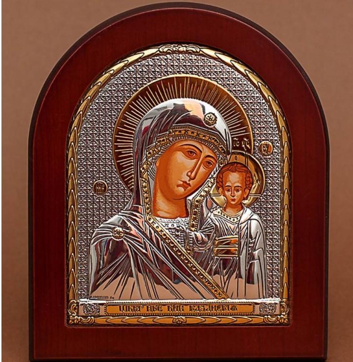 Казанская Божья Матерь 20х25см Греческая икона  в серебре и золоте (GOLD)