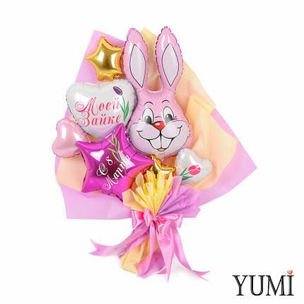"""Букет с розовым зайчиком, белым сердцем """"Моей зайке"""", звездой фуксия """"С 8 марта"""", фото 2"""
