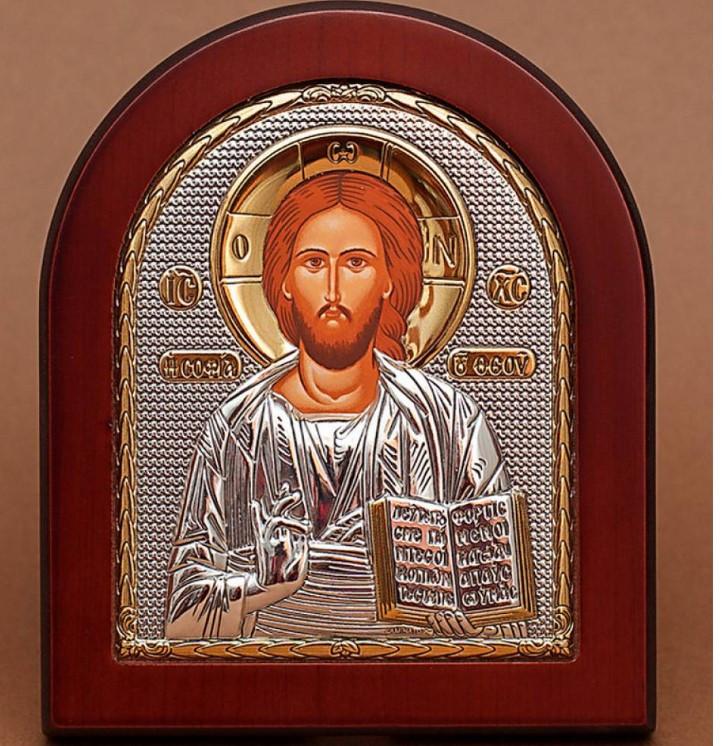 Спсситель Иисус Христос 20х25см Греческая икона  в серебре и золоте (GOLD)