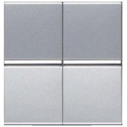 Выключатель 2 клавишный, перекрестный, серебристый металлик Zenit ABB NIESSEN, 2 модуля