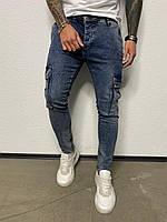 Джинсы мужские синие с карманами по бокам узкие