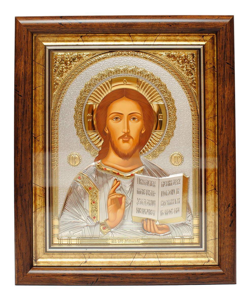Икона серебренная Спаситель Иисус Христос 15х13см украшена камнями сваровски, прямоугольной формы под стеклом