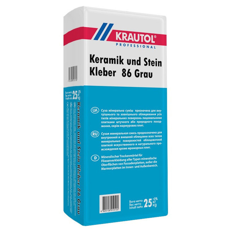Клей для плитки Krautol Keramik Stein und Kleber 86 Grau еластичний