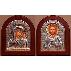 Венчальная пара 20х25см Свадебных икон Казанская Богородица и Спаситель Иисус (GOLD)