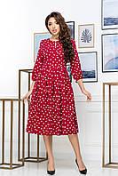 Нарядное красное платье в белый горох длина миди