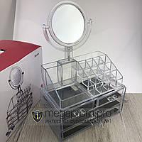 Бокс органайзер с зеркалом для макияжа и ящичками для хранения косметики GW818 Cosmetic storage box прозрачный