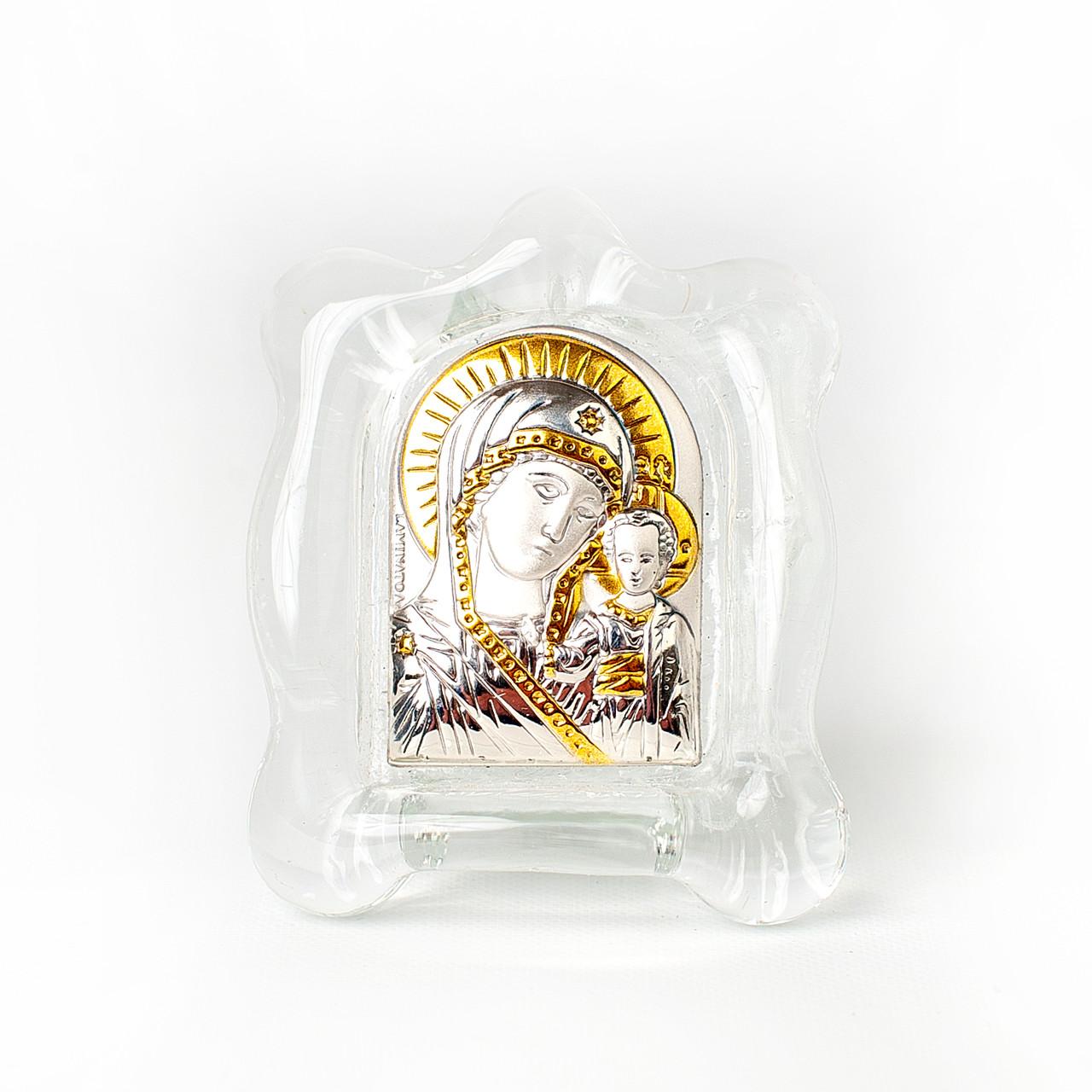 Казанская Богородица. Икона в  белом стекле Мурано 4,5х5см серебряный оклад)