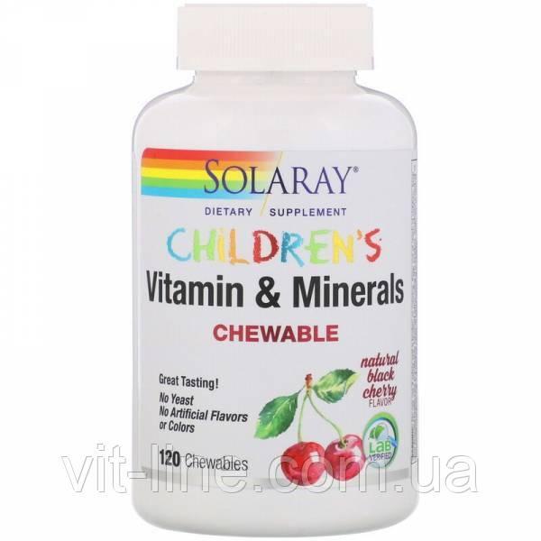 Solaray, Детские жевательные витамины и минералы, натуральный вкус черной вишни, 120 жевательных таблеток