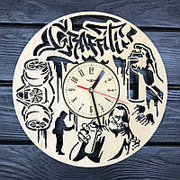Оригинальные настенные часы из дерева «Граффити», фото 1
