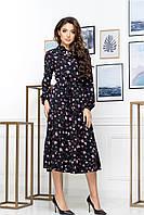 Черное женственное платье в мелкий цветок трэндовая длина миди