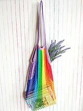 Авоська из хлопковой нити Радуга экосумка для покупок, торба шопер хлопок